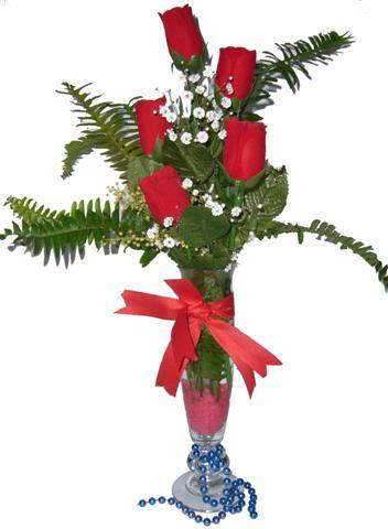 Samsun online çiçek gönderme sipariş  5 adet kirmizi gül ve cam tanzim