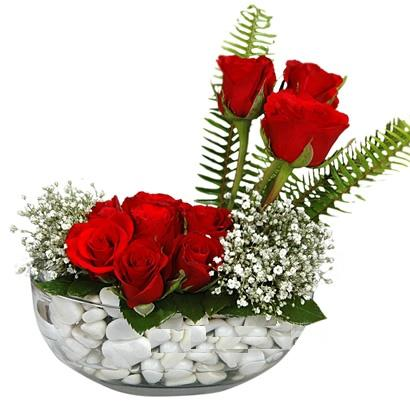 cam içerisinde 9 adet kirmizi gül  Samsun online çiçekçi , çiçek siparişi