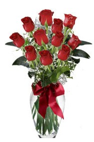 11 adet kirmizi gül vazo mika vazo içinde  Samsun çiçek gönderme