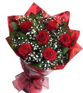 6 adet kırmızı gülden buket  Samsun internetten çiçek satışı