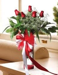 Camda 5 kırmızı gül tanzimi  Samsun uluslararası çiçek gönderme