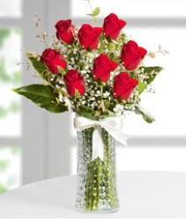 7 Adet vazoda kırmızı gül sevgiliye özel  Samsun çiçek mağazası , çiçekçi adresleri