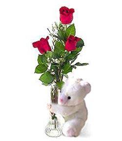 oyuncak ve 3 adet gül  Samsun çiçek mağazası , çiçekçi adresleri