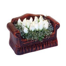 seramik içerisinde 11 gül  Samsun çiçek online çiçek siparişi