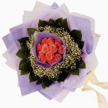 12 adet gül ve elyaflardan   Samsun çiçek servisi , çiçekçi adresleri