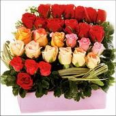 15 adet renkli gül ve cam   Samsun çiçek servisi , çiçekçi adresleri