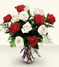 Samsun çiçek yolla  6 adet kirmizi 6 adet beyaz gül cam içerisinde