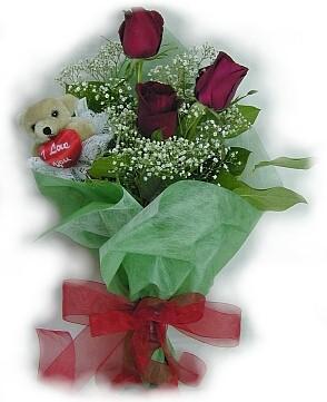 3 adet gül ve küçük ayicik buketi  Samsun İnternetten çiçek siparişi