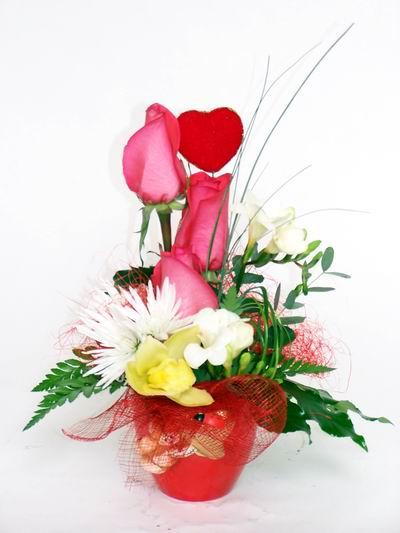 Samsun hediye sevgilime hediye çiçek  cam içerisinde 3 adet gül ve kir çiçekleri