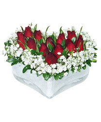Samsun yurtiçi ve yurtdışı çiçek siparişi  mika kalp içerisinde 9 adet kirmizi gül