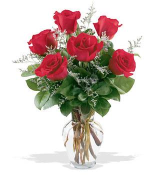 Samsun çiçek gönderme sitemiz güvenlidir  cam yada mika vazoda 6 adet kirmizi gül