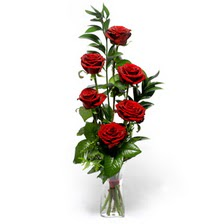 Samsun çiçek yolla  mika yada cam vazoda 6 adet essiz gül