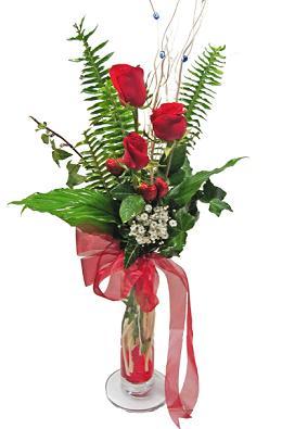 Çiçek gönderin cam vazoda 3 gül çiçekleri  Samsun çiçek mağazası , çiçekçi adresleri