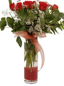 Samsun çiçek yolla  11 adet kirmizi gül vazo çiçegi