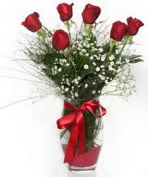 7 adet gülden cam içerisinde güller  Samsun çiçek gönderme
