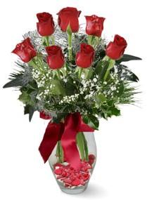 7 adet vazoda gül  Samsun kaliteli taze ve ucuz çiçekler  kirmizi gül