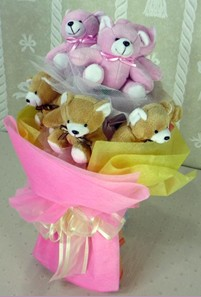 8 adet ayiciktan buket  Samsun İnternetten çiçek siparişi