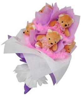 9 adet ayiciktan buket  Samsun çiçek satışı