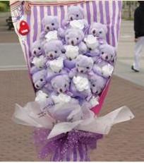 11 adet pelus ayicik buketi  Samsun online çiçek gönderme sipariş