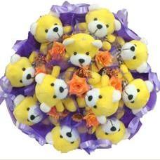 11 adet pelus ayicik buketi  Samsun hediye çiçek yolla