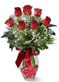 Samsun yurtiçi ve yurtdışı çiçek siparişi  7 adet kirmizi gül cam vazo yada mika vazoda