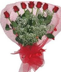 7 adet kipkirmizi gülden görsel buket  Samsun hediye çiçek yolla