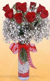 9 adet kirmizi gül cam yada mika vazoda  Samsun hediye çiçek yolla