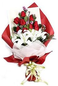Samsun çiçek online çiçek siparişi  9 adet gül 2 adet kazablanka buketi
