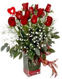 Samsun online çiçekçi , çiçek siparişi  9 adet mika yada cam vazoda gül tanzimi kalp çubuk