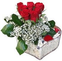 Samsun çiçek siparişi sitesi  kalp mika içerisinde 7 adet kirmizi gül
