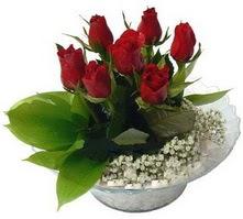 Samsun kaliteli taze ve ucuz çiçekler  cam yada mika içerisinde 5 adet kirmizi gül
