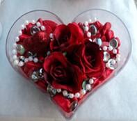Samsun İnternetten çiçek siparişi  mika kalp içerisinde 3 adet gül ve taslar