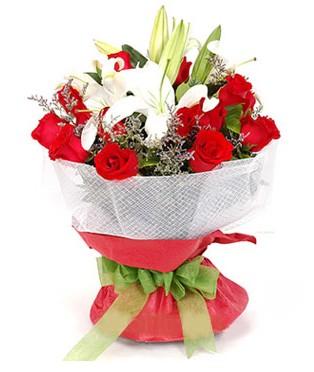 Samsun çiçek online çiçek siparişi  1 dal kazablanka 11 adet kırmızı gül buketi