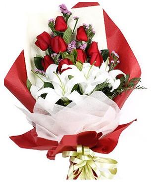 Samsun güvenli kaliteli hızlı çiçek  1 dal kazablankaa 9 adet kırmızı gül buketi