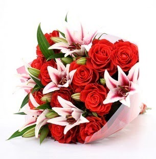 Samsun online çiçekçi , çiçek siparişi  3 dal kazablanka ve 11 adet kırmızı gül