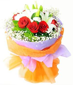 Samsun online çiçek gönderme sipariş  1 dal kazablanka 7 adet kırmızı gül buketi