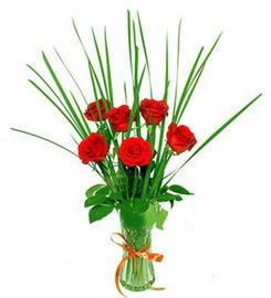 Samsun anneler günü çiçek yolla  6 adet kırmızı güllerden vazo çiçeği