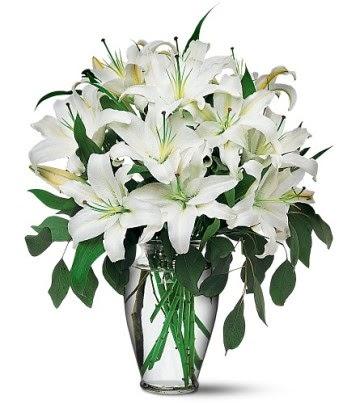 Samsun kaliteli taze ve ucuz çiçekler  4 dal kazablanka ile görsel vazo tanzimi