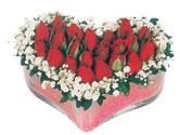 Samsun uluslararası çiçek gönderme  mika kalpte kirmizi güller 9