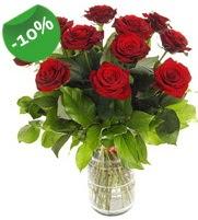 11 adet vazo içerisinde kırmızı gül  Samsun çiçek yolla , çiçek gönder , çiçekçi