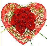 Mika kalp içerisinde 7 adet kırmızı gül  Samsun çiçek servisi , çiçekçi adresleri