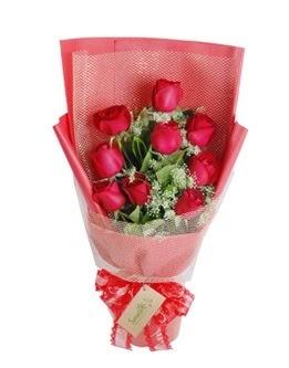 9 adet kırmızı gülden görsel buket  Samsun hediye sevgilime hediye çiçek