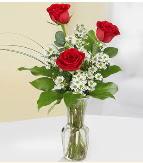 Vazo içerisinde 3 adet kırmızı gül  Samsun 14 şubat sevgililer günü çiçek