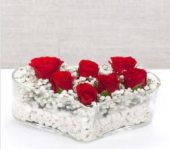 kalp içerisinde 7 adet kırmızı gül  Samsun online çiçekçi , çiçek siparişi