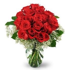25 adet kırmızı gül cam vazoda  Samsun anneler günü çiçek yolla