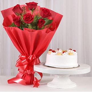 6 Kırmızı gül ve 4 kişilik yaş pasta  Samsun anneler günü çiçek yolla