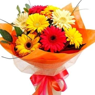 9 adet karışık gerbera buketi  Samsun anneler günü çiçek yolla