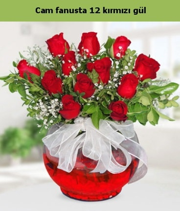 Cam içerisinde 12 adet kırmızı gül  Samsun kaliteli taze ve ucuz çiçekler