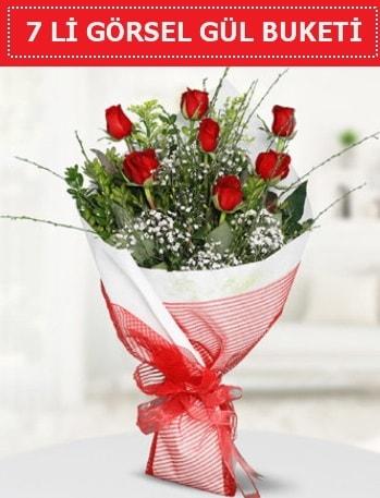 7 adet kırmızı gül buketi Aşk budur  Samsun 14 şubat sevgililer günü çiçek