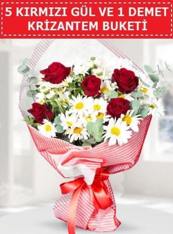 5 adet kırmızı gül ve krizantem buketi  Samsun 14 şubat sevgililer günü çiçek
